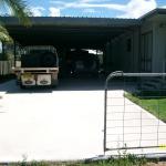 180 sqr mtr carport and driveway slab.